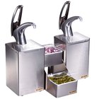 San Jamar P4826 FrontLine Dual Pump Condiment System with Stepped Trays - Metal Finish