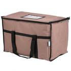 Choice 23 inch x 13 inch x 15 inch Brown Insulated Nylon Food Delivery Bag / Pan Carrier