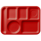 Carlisle 61405 10 inch x 14 inch Red ABS Plastic Left Hand 6 Compartment Tray
