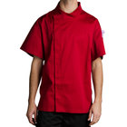 Chef Revival J020TM-L Cool Crew Fresh Size 46 (L) Tomato Red Customizable Chef Jacket with Short Sleeves and Hidden Snap Buttons - Poly-Cotton