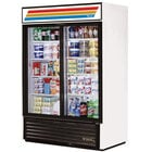 True GDM-47-LD White Glass Sliding Door Merchandiser with LED Lighting - 47 Cu. Ft.
