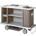 Metro LXHK4-PLUS Lodgix Plus Housekeeping Cart- Tall Height with 2 Adjustable Center and 2 Adjustable Side Storage Shelves