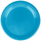 Creative Converting 28313121 9 inch Turquoise Plastic Dinner Plate - 20 / Pack