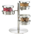 Cal-Mil 1855-4-55 Mixology Stainless Steel Three Tier 16 oz. Metal Lid Jar Display - 14 inch x 11 inch x 11 1/4 inch