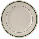 Tuxton TGB-021 12 inch Wide Rim Rolled Edge Green Bay China Plate 12/Case