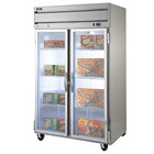 Beverage Air HF2-1G-LED 2 Section Glass Door Reach-In Freezer with LED Lighting - 49 cu. ft., SS Front, Gray Exterior