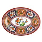 Peacock 14 inch x 10 inch Oval Melamine Platter - 12/Pack