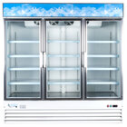 Avantco GDC69 79 inch Three Section Swing Glass Door White Merchandising Refrigerator - 69 cu. ft.