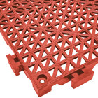 Cactus Mat 2557-RT Poly-Lok 12 inch x 12 inch Red Vinyl Interlocking Drainage Floor Tile - 3/4 inch Thick