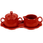 Homer Laughlin 821326 Fiesta Scarlet Sugar and Cream Tray Set - 4 Sets / Case