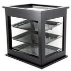 Cal-Mil 284-96 Three Tier Midnight Bamboo Display Case with Rear Door - 21 inch x 16 1/4 inch x 22 1/2 inch