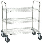 Metro 3SPN55ABR Super Erecta Brite Three Shelf Heavy Duty Utility Cart with Rubber Casters - 24 inch x 48 inch x 39 inch