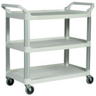 Rubbermaid FG409100OWHT Off-White Three Shelf Utility Cart / Bus Cart 40 inch x 20 inch x 37 inch