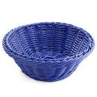 GET WB-1501-BL 9 1/2 inch x 3 1/2 inch Designer Polyweave Blue Round Basket - 12/Case