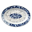 Thunder Group 2112DL Blue Dragon 12 inch x 9 inch Oval Melamine Deep Platter - 12/Pack