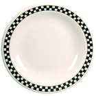 Homer Laughlin Black Checkers 10 1/2 inch Creamy White / Off White China Plate - 12/Case