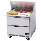 Beverage Air SPED36-12M 36 inch Mega Top Refrigerated Salad / Sandwich Prep Table with 2 Drawers