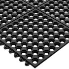 San Jamar KM1140B Connect-A-Mat 3' x 3' Black Grease-Resistant Bagged Floor Mat with Beveled Edge - 1/2
