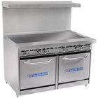 Bakers Pride Restaurant Series 48-BP-0B-G48-S20 Gas Range with Two Space Saver 20 inch Ovens and 48 inch Griddle
