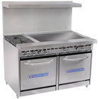 Bakers Pride Restaurant Series 48-BP-2B-G36-S20 2 Burner Gas Range with Two Space Saver 20 inch Ovens and 36 inch Griddle