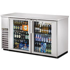 True TBB-24-60G-S-LD Stainless Steel Glass Door Back Bar Refrigerator with LED Lighting - 24 inch Deep