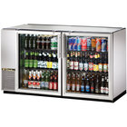True TBB-24GAL-60G-S-LD 60 inch Stainless Steel Glass Door Back Bar Refrigerator with Galvanized Top and LED Lighting - 24 inch Deep
