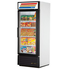 True GDM-26F-LD White Glass Door Merchandiser Freezer with LED Lighting and White Trim - 26 Cu. Ft.