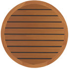 Grosfillex 99831108 30 inch Teak Decor Round Molded Melamine Outdoor Table Top