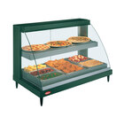 Hatco GRCDH-3PD Glo-Ray Two Shelf Full Service Heated Display Case with Curved Glass and Bottom Shelf Humidity - 45 1/2