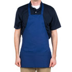 Choice Royal Blue Full Length Bib Apron with Pockets - 25
