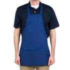 Choice Royal Blue Full Length Bib Apron with Pockets - 25 inchL x 28 inchW