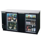 Beverage Air BB68GF-1-B-LED 68 inch Black Food Rated Glass Door Back Bar Cooler with Two Doors - 28.4 Cu. Ft.
