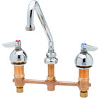 T&S B-2856 Deck Mount Easy Install Faucet with 8 inch Centers, 9 inch Swing Nozzle, 4 Arm Handles, and Eterna Cartridges