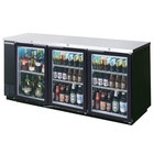 Beverage Air BB78GF-1-B-LED 78 inch Black Food Rated Glass Door Back Bar Cooler with Three Doors - 33 Cu. Ft.