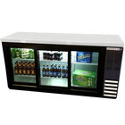 Beverage Air BB72GSYF-1-B-LED 72 inch Back Bar Refrigerator with Black Exterior, and 3 Sliding Glass Doors - 115V