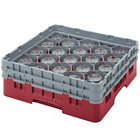 Cambro 20S800416 Camrack 8 1/2 inch High Cranberry 20 Compartment Glass Rack