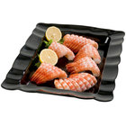 Carlisle 794403 19 1/2 inch x 13 inch Black Rectangular Small Scalloped Tray 4 / Case