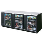 Beverage Air BB94GF-1-B 94 inch Black Food Rated Glass Door Back Bar Cooler with Three Doors - 39.7 Cu. Ft.
