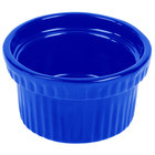 Tablecraft CW1610BL 10.5 oz. Cobalt Blue Cast Aluminum Souffle Bowl with Ridges