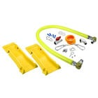 T&S HG-4C-48SK-PS Safe-T-Link 48 inch Coated Gas Connector Hose with Swivel Link Fittings, 90 Degree Elbow, Quick Disconnect, Restraining Cable, Street Elbow, Ball Valve, and POSI-SET Wheel Placement System