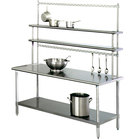 Eagle Group T3072SE-FM-PL 30 inch x 72 inch Stainless Steel Spec-Master Work Table with Flex-Master Overshelf Kit and Pot Racks