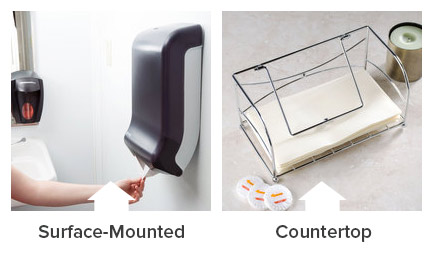 if there isnt much room in your bathroom or kitchen then a surface mounted or recessed paper towel dispenser would be the best fit