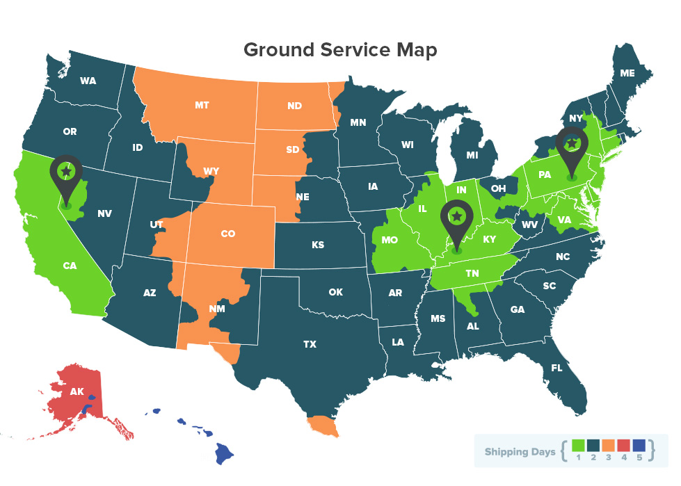Ground Shipping: Days-In-Transit Map