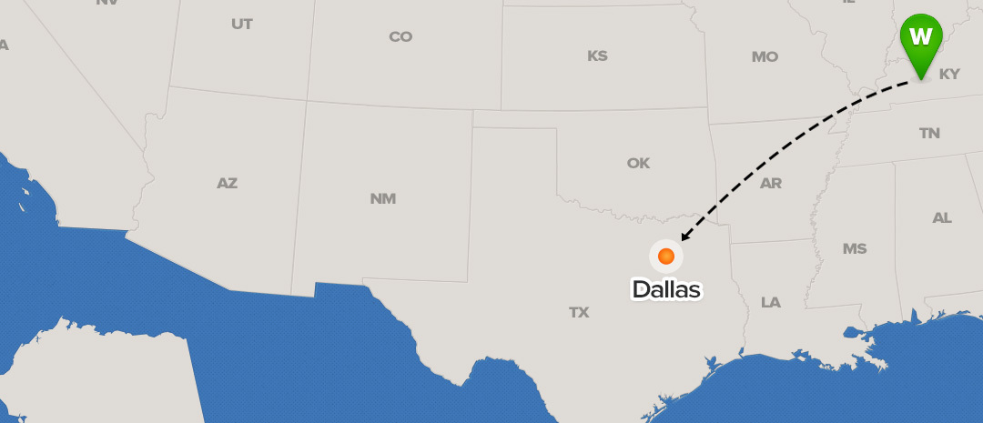 shipping map for Dallas